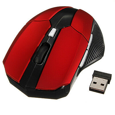 2.4GHz Wireless Cordless Optical Scroll DPI Red Mouse USB PC Computer Laptop UK