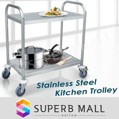 2 Tier Stainless Steel Trolley Cart Kitchen Dining Service Food Utility
