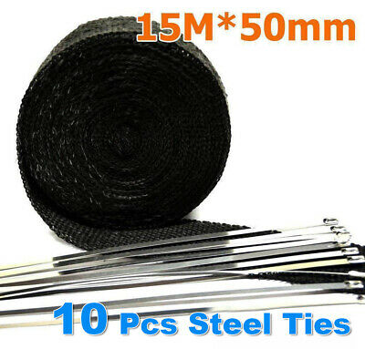 Exhaust Wrap Heat Resistant 15M*50mm + 10 Stainless Steel Ties 2000F Black