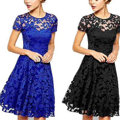 Lady Women Vintage Lace Short Sleeve Evening Formal Cocktail Mini Party Dress UK