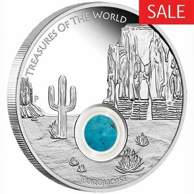 NEW Perth Mint Treasures of the World – Turquoise 2015 1oz Pure Silver Coin