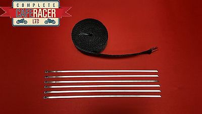 Fibreglass Exhaust Heat Wrap Black 10M Roll With Stainless Steel Ties