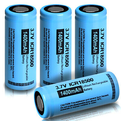 2pcs ICR 18500 1400mAh 3.7V Li-ion Rechargeable Battery For Headlight From US