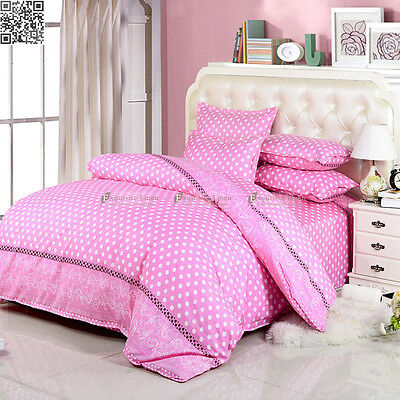 Pink&White Single/double/Queen size Bed Quilt/Duvet/Doona Cover Set Pillowcases