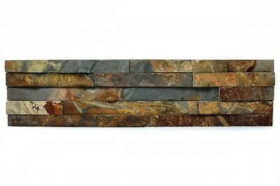 Rustic Copper Slate Split Face Mosaic Sample 150x150 Rock Panels - Wall Cladding