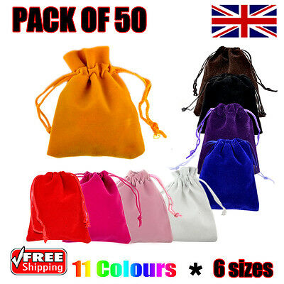 50 x Velvet Gift Pouches Wedding Bags Jewellery Pouch in 11 Colours & 6 Sizes