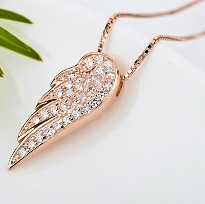 Angel Wing Pendant Rose Gold / 925 Solid Silver Hallmarked Boxed Gift UK Seller