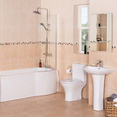Luxury P Shape Shower Bath Bathroom Suite with Right Hand Bath + Toilet + Basin