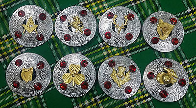 """New Celtic Brooch Red Stone/Kilt Fly Plaid Stone Brooch Red 4"""" Silver Finish"""