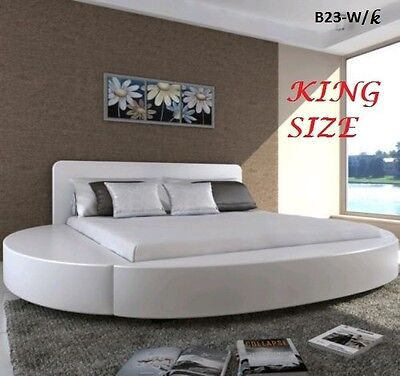 ITALIAN DESIGN king SIZE ROUND WHITE PU LEATHER BED FRAME