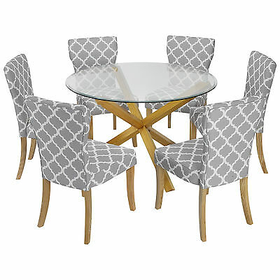 Solid Oak & Glass Round Dining Table and Chair Set with 6 Grey Fabric Seats