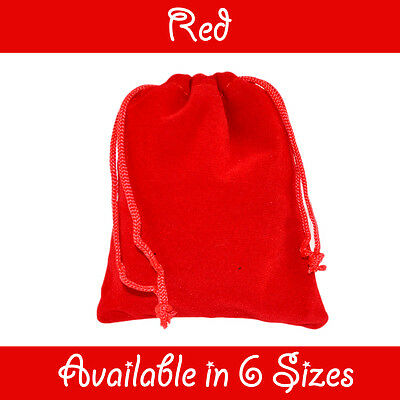 Red Velvet Gift Pouches Wedding Favour Bags Jewellery Pouch In 6 Sizes
