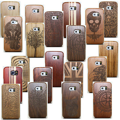Natural Wood Bamboo Carved Case Combo Cover For Samsung Galaxy S9 / S8 Plus/S7