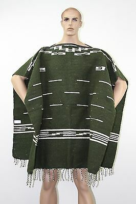 Hand Woven Moss Green Clint Eastwood Inspired Adult Poncho Blanket Imported
