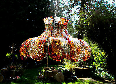 UNIQUE & HEAVY CARLO NASON FOR MAZZEGA ITALIAN MURANO ART GLASS CHANDELIER 1970s