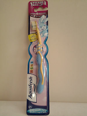 Aquafresh Phase1 Kids Toothbrush From 4 Months Extra Soft Bristles  Blue/ Yellow