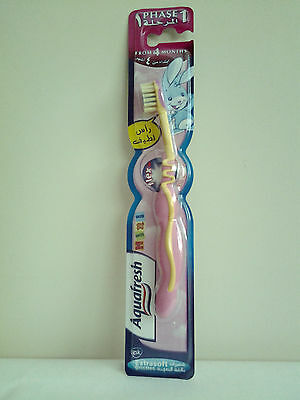 Aquafresh Phase1 Kids Toothbrush From 4 Months Extra Soft Bristles  Pink/ Yellow