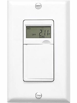 Refurbished 7-Day Programmable Digital Timer Switch LED Display White