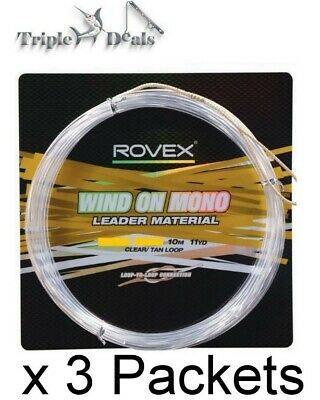 3 Lengths of Rovex Wind On Mono Leader-10 Metre Lengths - Clear Mono
