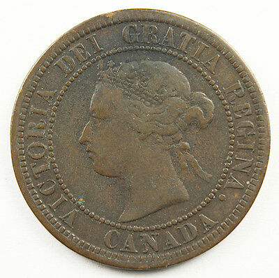 1876-H CANADA LARGE CENT QUEEN VICTORIA Great Portrait Nice Original Toning A