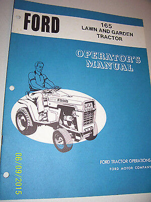 Vintage Ford Operators  Manual- Model 165 Lawn & Garden Tractor