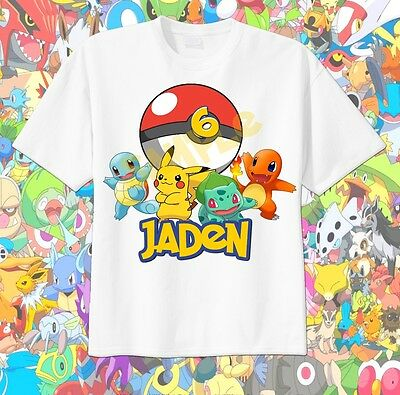 96e24bb8 Pokemon POKEBALL Custom t-shirt Personalize Birthday squirtle, pikachu  Bulbasaur