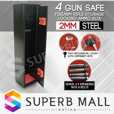 4 Rifle Gun Safe Storage Security Box Cabinet Firearm Lockbox 2mm Steel