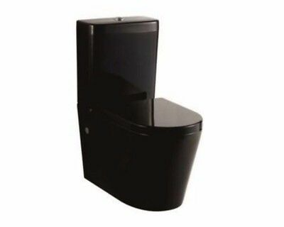 KDK 002 008 Black Full Ceramic Back to Wall Faced Toilet Suite S & P Trap