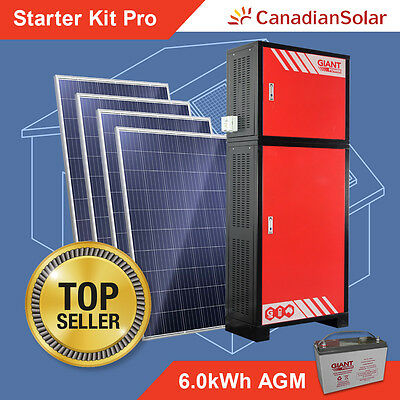 Off Grid Solar System - Starter Kit Pro 6.0kWh Stand Alone