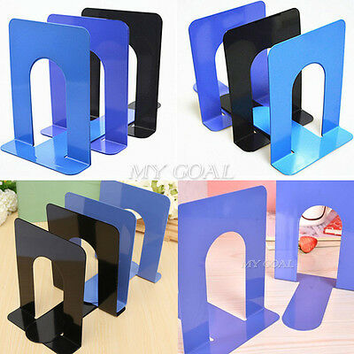 """2X6.7"""" L-Shaped Bookend Anti-skid Solid Metal Shelf Book Case Holder Home Office"""