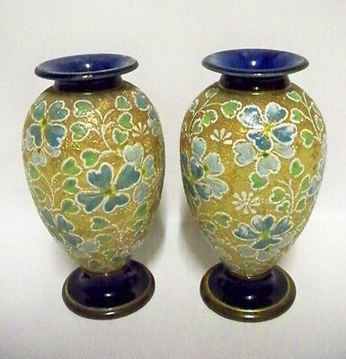 Antique Pair of Royal DOULTON SLATERS Patent Vases by ROSINA BROWN