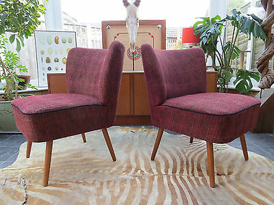 PAIR ORIGINAL 1960s RED VINTAGE EAST GERMAN BARTHOLOMEW COCKTAIL CHAIRS(A16/33a)