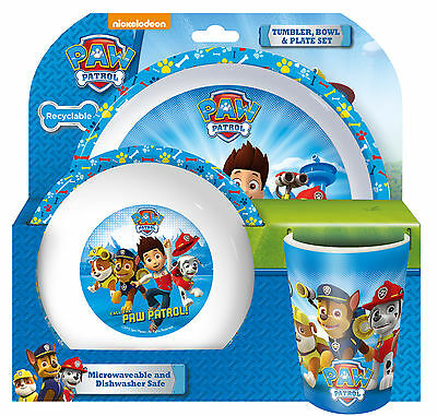 Childrens Paw Patrol 3 Piece Dinner Table Set Tumbler Bowl and Plate