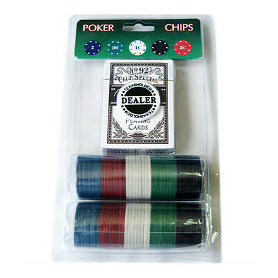 Poker Set 80 Pieces Chips 1 Deck Playing Card BCG 92 1 Dealer Button TexasHoldem