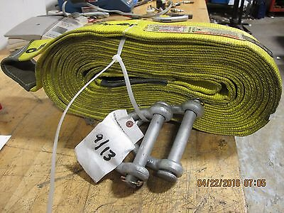 "4"" 2 Ply 27 Foot Nylon Lift Sling Choker Recovery Strap Tow With Shackles [F1S4]"