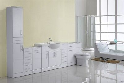 2800mm White Gloss Fitted Bathroom Furniture Vanity Toilet Cabinet Cupboard Unit