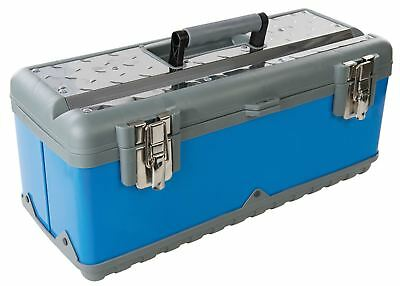 """Heavy Duty 20"""" Stainless Steel Tool Box Chest Bag with Handle & Removable Tray"""