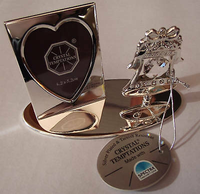 25th Silver Wedding anniversary Frame Heart with Silver Bell Wedding Day Topper