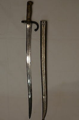 French Model 1866 Chassepot Yataghan Sword Bayonet with Scabbard 1867