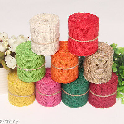 Natural Jute Hessian Burlap Ribbon Sewing Craft Wedding Gift Decoration