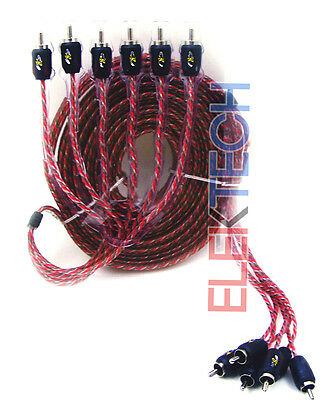 Stinger 6 Channels RCA Interconnect Audio Cable 17 ft 4000 Series Stereo SI4617