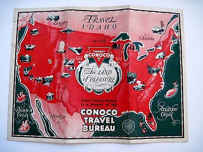 """Vintage Advertising Map for """"Conoco"""" w/ Title """"Travel Idaho"""" & National Parks N*"""