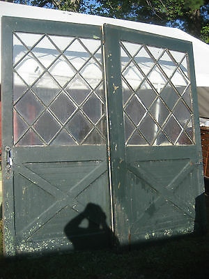 "PAIR large c1890 CARRIAGE HOUSE barn style DOORS MISSION design 99"" x 48"" x 2"""