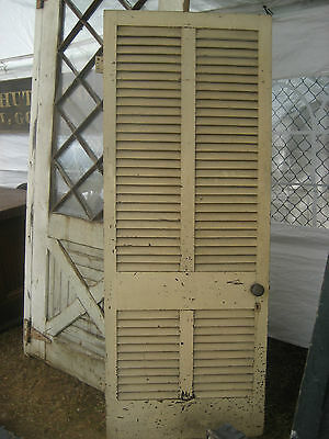 "SOLID - circa 1890 VICTORIAN shutter screen door w louvers 77.5"" x 30"" x 1.25"""