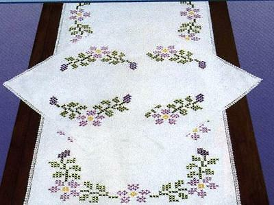 NEW TABLE RUNNER +DOILIESto embroider (STAR FLOWERS )JD