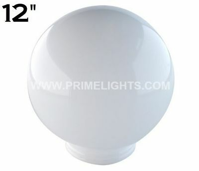 "6 - 12"" White Round Globe Outdoor Spheres Lamp Post Top Light Pole Acrylic New"