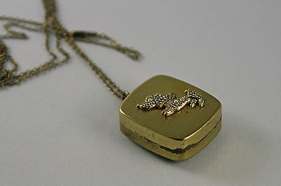 Vintage Miniature Music Box Pendant Fuji Japan Gold Tone Rhinestone Dog Works