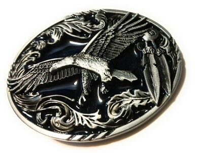 * Classic Soaring EAGLE Antique Silver color BELT BUCKLE Full Metal Western USA