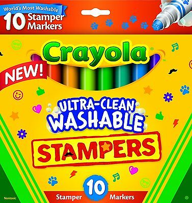 Crayola Ultra Clean Washable Stampers 10 Pack Brand New In Pack Made In Usa