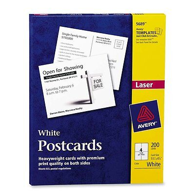 Avery 05689 White Postcards For Laser Printer, 5.5 x 4.25 Inches, White, 200